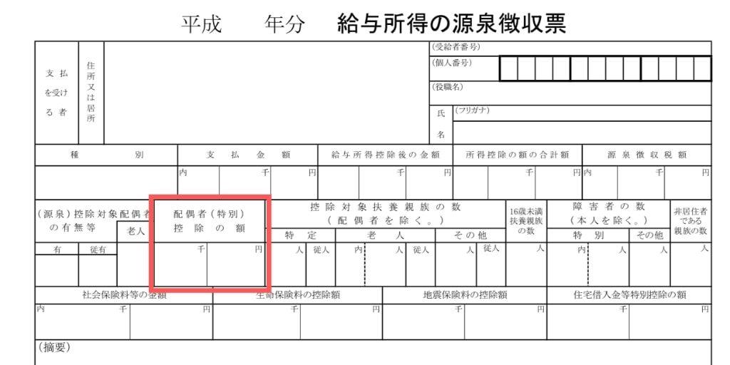 夫の「給与所得の源泉徴収票」の配偶者控除の欄を確認する写真