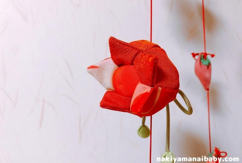 母の手作りひな祭りのつるし飾り「ほおずき」の人形の写真