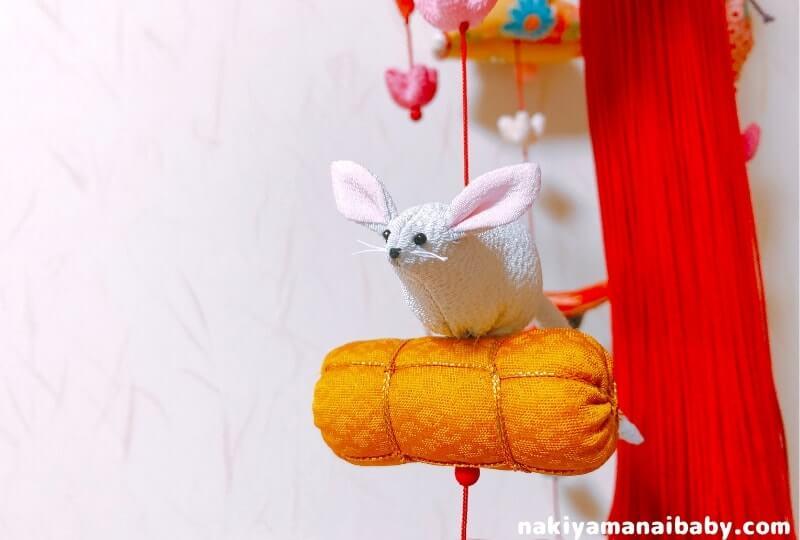 母の手作りひな祭りのつるし飾り「俵うさぎ」の人形の写真