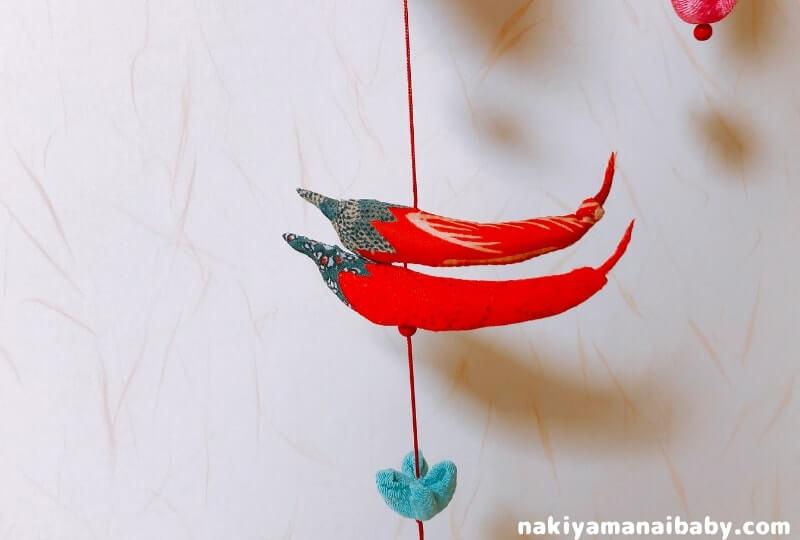 母の手作りひな祭りのつるし飾り「とうがらし」の人形の写真