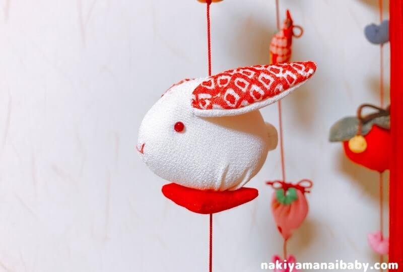 母の手作りひな祭りのつるし飾り「うさぎ」の人形の写真