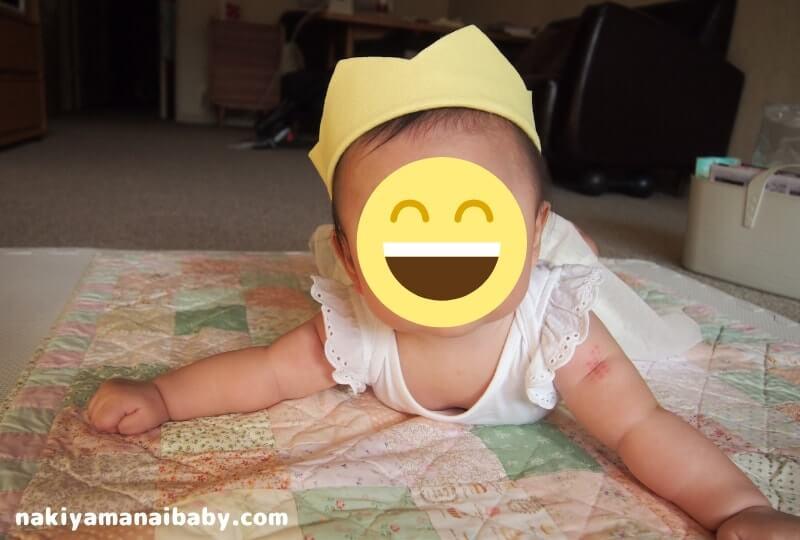 フェルト王冠の着用感レビュー、ハーフバースデー(生後6ヶ月)の写真