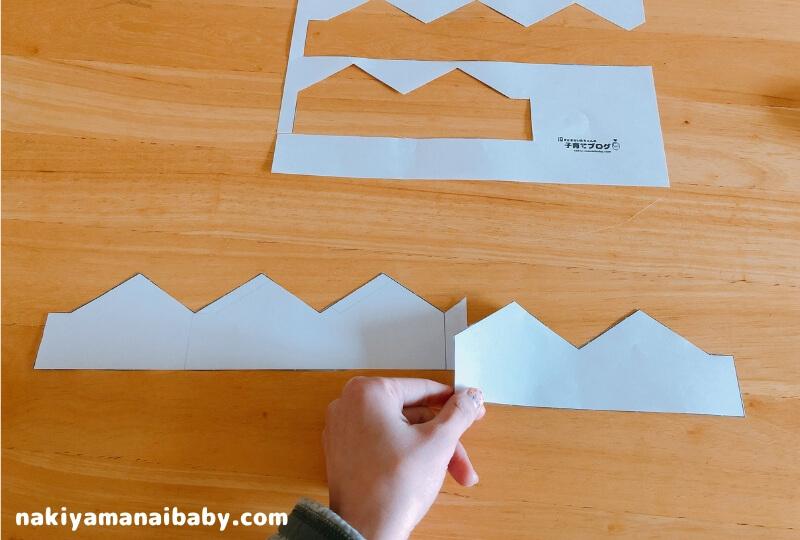 フェルト王冠の作り方、型紙を切る写真