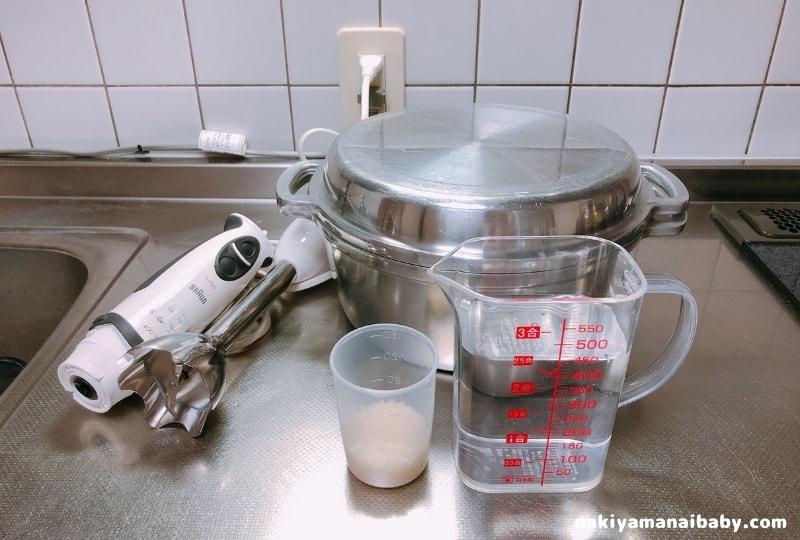 鍋で作る10倍がゆ材料の写真