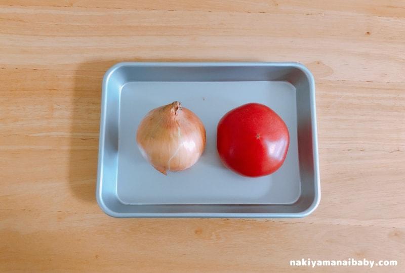 玉ねぎたっぷりトマトソース材料の写真