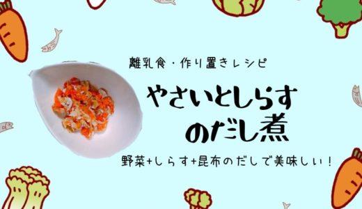 【離乳食作り置きレシピ】お粥がモリモリ進む!野菜としらすのだし煮