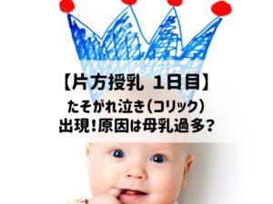【片方授乳1日目】たそがれ泣き(コリック)出現!原因は母乳過多?