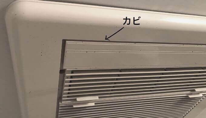 浴室乾燥機についたカビの写真